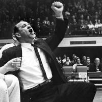 Photo - New Sooner basketball coach Bob Stevens was born into show business and these courtside pictures from South Carolina days show theatrics are still very much in his blood.  Stevens coached the Sooners from 1962-67. PHOTO BY CHARLES H. COOPER/HERALD-SUN PAPER/DURHAM, NORTH CAROLINA      Published in The Oklahoma City Times 04/17/1962 and in The Daily Oklahoman 02/03/1987.