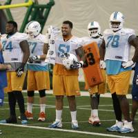 Photo - Miami Dolphins center Mike Pouncey (51) stands with guard John Jerry (74), tackle Bryant McKinnie (78) and guard Nate Garner (75) during NFL football practice, Wednesday, Nov. 6, 2013, in Davie, Fla. At left is offensive line coach Jim Turner. (AP Photo/Lynne Sladky)