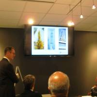 Photo - Architect Anthony McDermid presents inspirations for designs of a new parking garage at Wednesday's meeting of the Oklahoma City Urban Renewal Authority.  Steve Lackmeyer