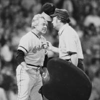 Photo - FILE - In this July 13, 1974 file photo, Baltimore Orioles manager Earl Weaver literally