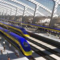 Photo -   FILE - This image provided by the California High Speed Rail Authority shows an artist's rendering of a high-speed train station. Sacramento Superior Court Judge Timothy Frawley is expected to decide Friday, Nov. 16, 2012 whether to grant a preliminary injunction that would temporarily halt the project. Groups representing Central Vally farmers claim in the lawsuits that the California High Speed Rail Authority failed to conduct through environmental reviews and comply with public meeting laws.(AP Photo/California High Speed Rail Authority, File)