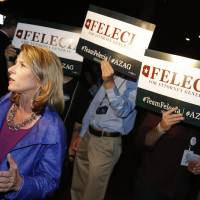 Photo - Arizona Democratic Attorney General candidate Felecia Rotellini speaks, Tuesday, Aug. 26, 2014, at a primary election party in Phoenix. (AP Photo/Matt York)