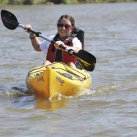 Photo - A kayaker paddles on the North Canadian River. PHOTOS PROVIDED