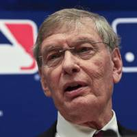 Photo - Baseball Commissioner Bud Selig speaks during a press conference, Thursday, May 15, 2014 at Major League Baseball headquarters in New York. Selig, who has headed baseball since 1992 and plans to retire in January 2015, announced that St. Louis Cardinals chairman Bill DeWitt was appointed chairman of a succession committee to determine the process for his replacement.  (AP Photo/Bebeto Matthews)