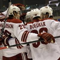Photo - Phoenix Coyotes celebrate their first goal against the Los Angeles Kings in the first period of an NHL hockey game in Los Angeles Monday, March 17, 2014.  (AP Photo/Reed Saxon)