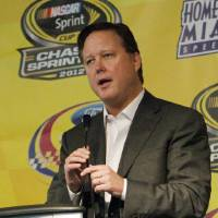 Photo -   NASCAR Chairman and CEO, Brian France speaks during a news conference at Homestead-Miami Speedway, Saturday, Nov. 17, 2012 in Homestead, Fla. The final Sprint Cup Series auto race will take place Sunday afternoon. (AP Photo/David Graham)