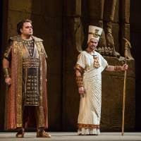 Photo -   In this Nov. 15, 2012 photo provided by the Metropolitan Opera, Marco Berti, left, performs as Radames and Stefan Kocan as Ramfis in Verdi's