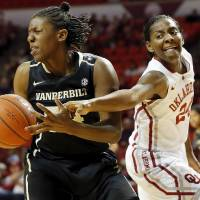 Photo - OU's Sharane Campbell (24) tries to steal the ball from Vanderbilt's Tiffany Clarke (34) in the first half during a women's college basketball game between the University of Oklahoma Sooners and the Vanderbilt Commodores at Lloyd Noble Center in Norman, Okla., Sunday, Dec. 16, 2012. Photo by Nate Billings, The Oklahoman