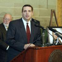 Photo - Oklahoma State Senator Clark Jolley speaks at a press conference at the State Capitol in Oklahoma City, OK, Thursday, Oct. 27, 2011,  about a new law taking affect next Tuesday which will impose tougher penalties on DUI offenders. By Paul Hellstern, The Oklahoman ORG XMIT: KOD