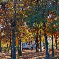 Photo - Cooler weather and changing of the seasons provide a colorful background for campers. PHOTO PROVIDED.