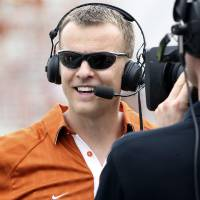 Photo - FILE - In this April 3, 2011, file photo, Texas' co-offensive coordinator Bryan Harsin gives an interview during the Texas Orange and White spring NCAA football scrimmage in Austin, Texas. A person familiar with the negotiations tells The Associated Press that Harsin will become the head coach at Arkansas State.   Harsin is expected to be introduced at Arkansas State on Wednesday, Dec. 12, 2012. The person spoke on condition of anonymity because there was no official announcement by either school.  (AP Photo/Michael Thomas, File)