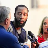 Photo - NBA BASKETBALL: Oklahoma City Thunder player James Harden answers question from reporters at the Thunder practice facility Monday, April 26, 2010,  before the team traveled to California to play in Game 5 of the first round of the NBA playoffs against the Los Angeles Lakers.  Photo by Jim Beckel, The Oklahoman ORG XMIT: KOD
