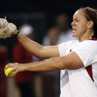 Photo - OU's Keilani Ricketts (10) pitches during an NCAA softball game between OU and Marist in the Oklahoma Regional in Norman, Okla., Friday, May 17, 2013. Photo by Nate Billings, The Oklahoman