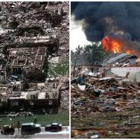 Photo - This combination of Associated Press photos shows left, a neighborhood in Moore, Okla., in ruins on Tuesday, May 4, 1999, after a tornado flattened many houses and buildings in central Oklahoma, and right, flattened houses in Moore on Monday, May 20, 2013. Monday's powerful tornado in suburban Oklahoma City loosely followed the path of a killer twister that slammed the region in May 1999. (AP Photo)