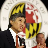 Photo -   University of Maryland President Wallace Loh speaks at a news conference to announce Maryland's decision to move to the Big Ten NCAA athletic conference in College Park, Md., Monday, Nov. 19, 2012. Maryland is joining the Big Ten, leaving the Atlantic Coast Conference in a shocker of a move in the world of conference realignment. (AP Photo/Patrick Semansky)