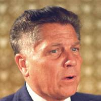 Photo - FILE - In this June 3, 1974 file photograph, teamsters president Jimmy Hoffa is shown in Washington. The Teamsters leader was last seen in July 1975 at a restaurant in Oakland County's Bloomfield Township in Michigan. Federal agents revived the hunt for the remains of Jimmy Hoffa on Monday June 17, 2013, digging around in a suburban Detroit field where a reputed Mafia captain says the Teamsters boss' body was buried. (AP Photo, File)