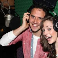 Photo - This March 18, 2013 photo released by Fortune Creative shows Santino Fontana, left, and Laura Osnes  recording the Original Broadway Cast Recording of Broadway's