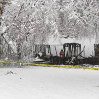 Photo - A propane explosion Thursday morning killed a  woman and severely burned a man inside a home northwest of Ada. Photo provided by the Ada fire department
