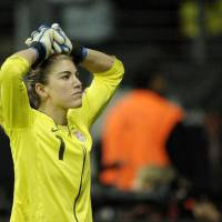 Photo - United States goalkeeper Hope Solo reacts during the penalty shootout of the final match between Japan and the United States at the Women's Soccer World Cup in Frankfurt, Germany, Sunday, July 17, 2011. (AP Photo/Martin Meissner) ORG XMIT: WWC256