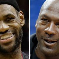 Photo - FILE - At left is a June 16, 2013 file photo showing LeBron James. At right is an Oct. 2, 2012 file photo showing Michael Jordan. Jordan believes he could beat James in a one-on-one basketball game when he was in his prime. In a video promoting the NBA 2K14 video game that is being released Tuesday, Oct. 1, 2013, Jordan said there's a long list of players he would've liked to have played one-on-one.