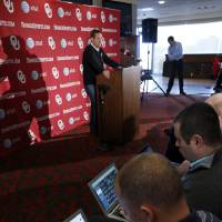 Photo - Sooner head football coach Bob Stoops talks about the start of spring practice at Gaylord Family-Oklahoma Memorial Stadium in Norman, Okla., on Thursday, March 6, 2014. Photo by Steve Sisney, The Oklahoman