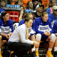 Photo - Aaron Johnson, head coach of the South Dakota State womans basketball team watches the action during their WNIT Final Four game against UTEP in El Paso, Texas, Wednesday April 2, 2014. (AP Photo/El Paso Times, Rudy Gutierrez)
