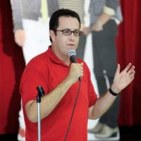 Photo - Jared Fogle, Subway spokesman, talked to Soldier Creek Elementary students about healthy eating on Friday.  PAUL B. SOUTHERLAND - PAUL B. SOUTHERLAND