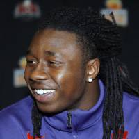 Photo -   FILE - This Dec. 31, 2011 file photo shows Clemson' football player Sammy Watkins speaking to reporters during an NCAA college football news conference for the Orange Bowl, in Fort Lauderdale, Fla, Watkins was arrested and charged with possession of marijuana and a controlled substance on Friday, May 4, 2012, in Columbia, S.C. (AP Photo/Jeffrey M. Boan, File)