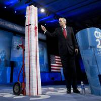 "Photo - FILE - In this March 15, 2013, file photo the Senate Minority Leader, Republican Mitch McConnell of Kentucky, points to a 7-foot stack of ""Obamacare"" regulations to underscore his disdain during the 40th annual Conservative Political Action Conference in National Harbor, Md.  McConnell said Democrats have been predicting for years that Americans would learn to love the health care overhaul and that has not happened. ""I agree that it will be a big issue in 2014,"" he said. ""I think it will be an albatross around the neck of every Democrat who voted for it. They are going to be running away from it, not toward it."" (AP Photo/Manuel Balce Ceneta, File)"