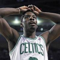 Photo - Boston Celtics forward Jeff Green reacts to a call during the second half against the New York Knicks in Game 2 of a first-round NBA basketball playoff series in Boston on Tuesday, April 19, 2011. (AP Photo/Elise Amendola)