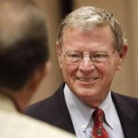 Photo - Sen. Jim Inhofe, R-Tulsa, talks with individuals after speaking at a Greater Oklahoma City Chamber of Commerce breakfast in Oklahoma City Thursday, August 26, 2010. Photo by Paul B. Southerland