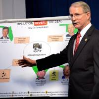 Photo - Jacksonville (FL) Sheriff John Rutherford describes a chart showing the key co-conspirators in the operation