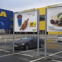 Photo - Advertising for Ikea meat balls at the parking area at an Ikea store in Malmo  Sweden Monday Feb. 25, 2012. Furniture retailer Ikea says it has halted all sales of meat balls in Sweden after Czech authorities detected horse meat in frozen meatballs that were labeled as beef and pork. (AP Photo/Johannes Cleris)  SWEDEN OUT