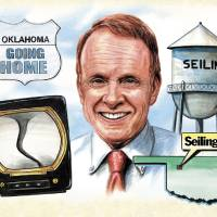 Photo - KWTV, TV, TELEVISION, WEATHERMAN, METEOROLOGIST, GRAPHIC: Going home with Gary England to Seiling, Oklahoma (TORNAD0 - WEATHER - TELEVISION - WATER TOWER - MAP) ILLUSTRATION BY STEVE BOALDIN, OKLAHOMAN GRAPHICS