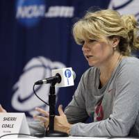 Photo - Oklahoma head coach Sherri Coale answers questions during a news conference about their second-round game of the women's NCAA college basketball tournament Sunday, March 24, 2013, in Columbus, Ohio. Oklahoma will play UCLA on Monday. (AP Photo/Jay LaPrete) ORG XMIT: OHJL101