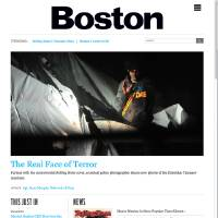 Photo - In this screen shot taken from the bostonmagazine.com website Friday, July 19, 2013, the site displays a photo of Boston Marathon bombing suspect Dzhokhar Tsarnaev with the red dot of a sniper's rifle laser sight on his forehead on the night he was captured in Watertown, Mass., on April 19, 2013. Massachusetts State Police tactical photographer Sgt. Sean Murphy, furious with a Rolling Stone cover photo he believes glamorizes Tsarnaev, released this and other gritty images Thursday, July 18, from the day he was captured. An image of the Rolling Stone cover is set at the bottom of the page. (AP Photo/bostonmagazine.com)