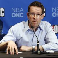 Photo - OKC NBA, FORMER SEATTLE SUPERSONICS, SONICS BASKETBALL TEAM: Sam Presti, general manager of the Oklahoma City NBA franchise, speaks during a press conference at the Skirvin Hilton Hotel in Oklahoma City, Thursday, July 10, 2008. BY NATE BILLINGS, THE OKLAHOMAN ORG XMIT: KOD