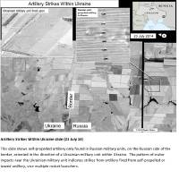 Photo - This second page of a four page document released by the U.S. State Department in Washington, July 27, 2014  shows a satellite image that purports to shows self propelled artillery only found in Russian military units, on the Russian side of the border, oriented in the direction of a Ukrainian military unit within Ukraine. The United States says the images back up its claims that rockets have been fired from Russia into eastern Ukraine and heavy artillery for separatists has also crossed the border. (AP Photo/U.S. State Department)