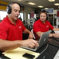 Photo - Former University of Oklahoma (OU) football players Teddy Lehman (left) and Dusty Dvoracek do their radio program on Tuesday, July 17, 2012 in Norman, Okla.  Photo by Steve Sisney, The Oklahoman
