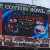 Photo - UNIVERSITY OF OKLAHOMA / FANS / COLLEGE FOOTBALL / RED RIVER RIVALRY: Hand out photo of the AT&T Cotton Bowl scoreboard showing the final score for the UT v. OU game, 45 to 35. CREDIT: Jim Sigmon/University of Texas Sports Information. Received 11/26/08 for 1127UTSCORE. ORG XMIT: AAS0811261159552948