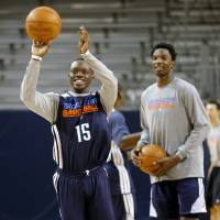 Photo - Oklahoma City's Reggie Jackson shoots the ball during a Thunder practice at Rice University in Houston, Texas, Sunday., April 28, 2013. Photo by Bryan Terry, The Oklahoman