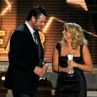"""Photo -  Miranda Lambert, right, and Blake Shelton accept the award for song of the year for """"Over You"""" at the 48th Annual Academy of Country Music Awards at the MGM Grand Garden Arena in Las Vegas on Sunday, April 7, 2013. (AP)"""