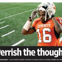 Photo - Perrish the thought GRAPHIC / ILLUSTRATION with photos: 1) BOONE PICKENS STADIUM / OSU: Football field at Oklahoma State University, Thursday, Sept. 10, 2009  Photo by Jim Beckel, The Oklahoman        2)  CELEBRATION: OSU's Perrish Cox (16) walks off the field as Texas players celebrate in the background following the Oklahoma State University (OSU) college football game with University of Texas (UT) at Boone Pickens Stadium in Stillwater, Okla. Saturday, Nov. 3, 2007. UT won 38-35. BY MATT STRASEN, THE OKLAHOMAN