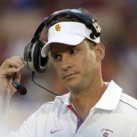 Photo - FILE - In this Oct. 20, 2012 file photo, Southern California head coach Lane Kiffin removes his headset during the second half of an NCAA college football game against Colorado, in Los Angeles. Southern California is coming off a historically disappointing season that has put Kiffin in precarious situation heading into his fourth season as Trojans coach. The Trojans will have a new quarterback and are still dealing with a roster limited by NCAA sanctions. They won't enter the season No. 1 like last year. Expectations are far more modest, which both Kiffin and his boss, athletic director Pat Haden, say is a good thing. (AP Photo/Mark J. Terrill, File)