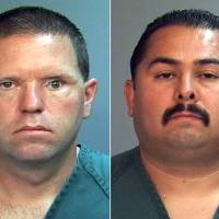 Photo -   This combo made from file photos provided by the Orange County District Attorney's office shows Fullerton Police Officers Jay Cicinelli, left, and Manuel Ramos. A judge on Monday, May 7, 2012 will weigh whether there's enough evidence to try the two officers, who are charged with one count each of second-degree murder and involuntary manslaughter in the death of 37-year-old Kelly Thomas after a violent confrontation with officers on July 5. (AP Photo/Orange County District Attorney, File)
