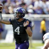 Photo -   TCU quarterback Casey Pachall (4) passes against Virginia defensive end Bill Schautz (47) during the first half on an NCAA college football game Saturday, Sept. 22, 2012, in Fort Worth, Texas. (AP Photo/LM Otero)