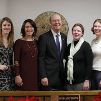 Photo - Oklahoma Corporation Commissioner Bob Anthony poses with his daughters, from left, Katherine Anthony, Suzanne Anthony, Christine Anthony and Elizabeth Anthony, following a swearing-in at the Jim Thorpe Building in Oklahoma City on  Thursday. Photo by Sarah Phipps, The Oklahoman  SARAH PHIPPS - SARAH PHIPPS