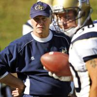 Photo -   FILE - In this file photo taken Oct. 15, 2011, Georgia Tech defensive coordinator Al Groh watches warm ups before an NCAA college football game in Charlottesville, Va. Georgia Tech fired Groh. Head coach Paul Johnson announced the move Monday, Oct. 8, 2012, two days after the Yellow Jackets (2-4) lost 47-31 to Clemson. (AP Photo/Steve Helber, file)