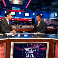 Photo - Monday, July 20, 2009 - Bristol, CT -- Screening Room -- College Football Live -- Joe Schad with Oklahoma State University (OSU) college football coach Mike Gundy ORG XMIT: 0907202201343192
