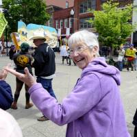 Photo - Activist Sister Megan Rice attends a rally by supporters before her trial with fellow anti-nuclear weapons activists Michael Walli, 64, and Greg Boertje-Obed, 56, on Monday, May 6, 2013, in Knoxville, Tenn. The activists, who call themselves